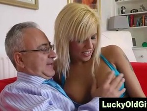 Lucky old man is sucked by blonde slut