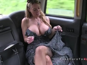 Big tits blonde drains cum in fake taxi