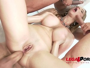 Busty babe Suzie Sun oiled up & assfucked by 3 studs SZ1379