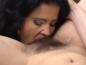 Naughty Housewife Licking Another Housewife's Hairy Pussy
