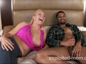 Milf taking black guys dick in her pussy in hot blonde milf video