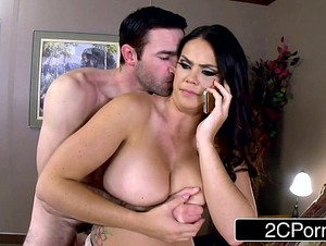 Lovely Nympho Alison Tyler Calls Husband While Giving Blowjob to her Lover