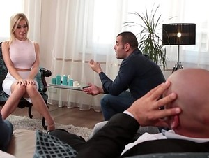 Kinky Chessie Kay blows four huge dicks and gets her mouth filled with cum