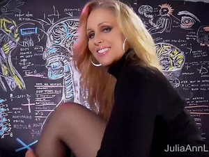 Sexy Milf Julia Ann Sweater Strip Tease & Solo!