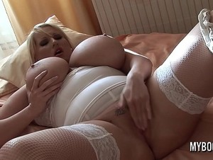 Huge tits Laura masturbate in stockings