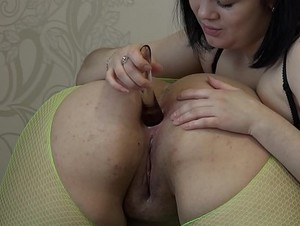 Girlfriend fuck my big ass with different sex toys and licks a fat pussy, passionate lesbians&