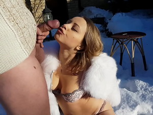 Hot fuck in the cold snow: blowjob, reverse cowgirl, doggystyle and pussy creampie